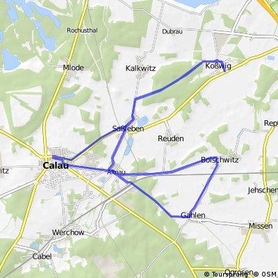 Calau - Koswig - Bolschwitz - Gahlen - Calau