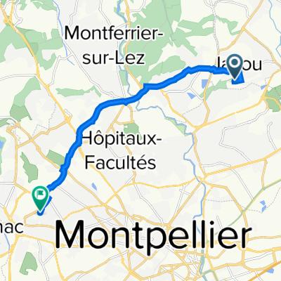 De Avenue Jean Sébastien Bach 15, Jacou à Avenue des Moulins 2637, Montpellier