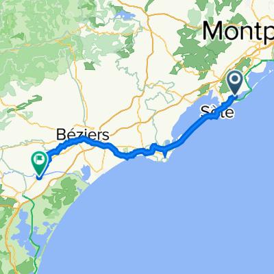 1 Quai de Caramus, Frontignan to 14bis Avenue Frédéric Mistral, Coursan