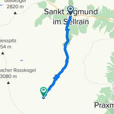 Sankt Sigmund im Sellrain nach Unnamed Road
