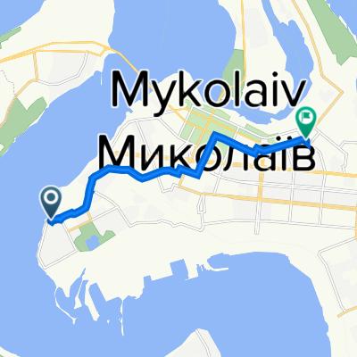 От Лазурная улица, 4, Николаев до 1-я Военная улица, Николаев
