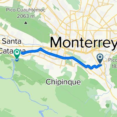 De Calle Polux 221, Monterrey a Avenida Miguel Alemán 410, Ciudad Santa Catarina