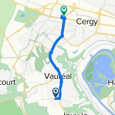 De Rue des Valanchards, Vauréal à Impasse des Pommiers, Puiseux-Pontoise