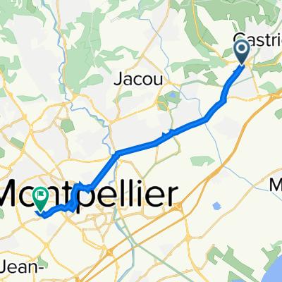 De D610 2, Vendargues à Rue du Roc de Pézenas 9B, Montpellier