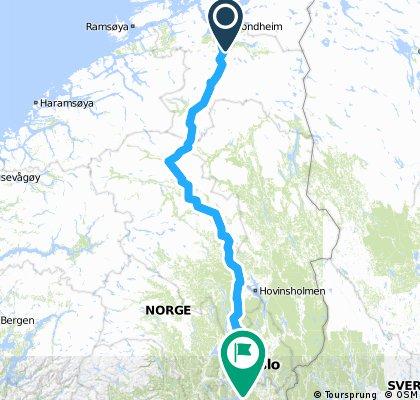 Trondheim - Oslo (highways)