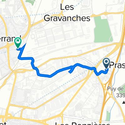 De 41 Rue Georges Besse, Clermont-Ferrand à 1 Chemin du Moutier, Clermont-Ferrand