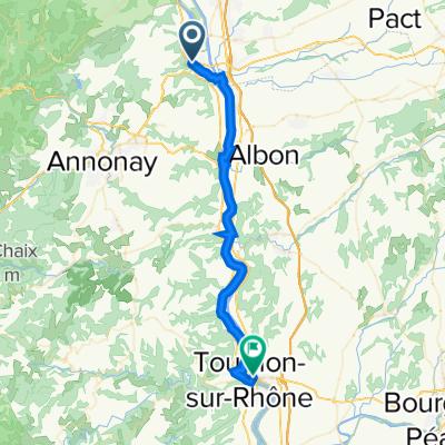 2 Quai du Chateau, Sablons naar 24 Place du Taurobole, Tain-l'Hermitage