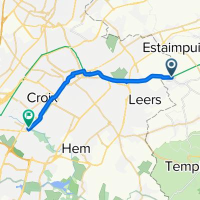 De Rue du Canal 26, Estaimpuis à 81 Rue Jean-Baptiste Bonte, Villeneuve-d'Ascq