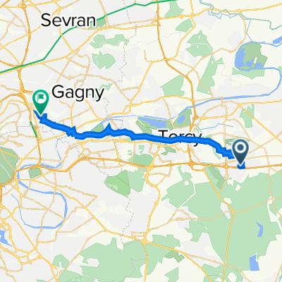 De Avenue Gutenberg 2, Bussy-Saint-Georges à Rue Henri Delaunay 3, Rosny-sous-Bois