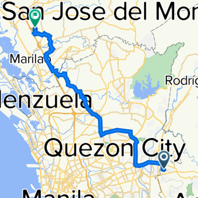 Route from 26 Erlinda Drive, Cainta