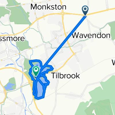Route from Newport Road, Wavendon, Milton Keynes