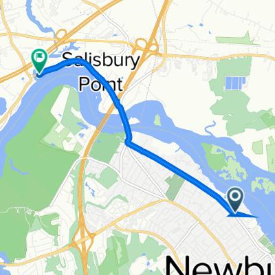 Route from 334 Merrimac St, Newburyport
