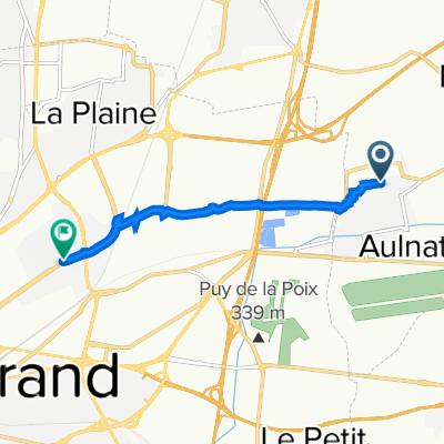 De 1 Avenue Voltaire, Aulnat à 7 Boulevard Léon Jouhaux, Clermont-Ferrand