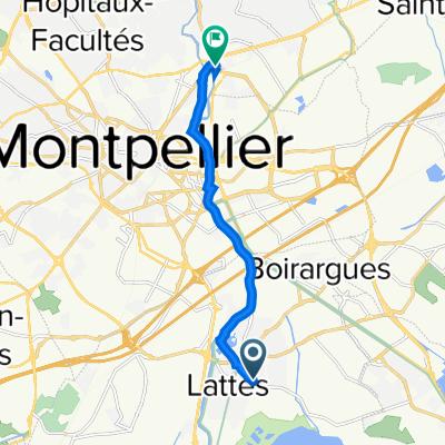 De 410 Route de Perols, Lattes à 140 Route de la Pompignane, Castelnau-le-Lez