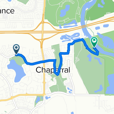 Route from 197–213 Chaparral Dr SE, Calgary