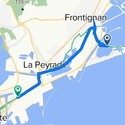 De Avenue des Étangs, Frontignan à 595–680 Quai des Moulins, Sète