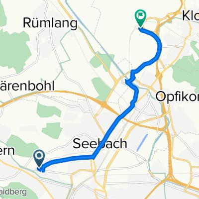 Binzmühlestrasse 308, Zürich nach Flughafenstrasse 70, Kloten