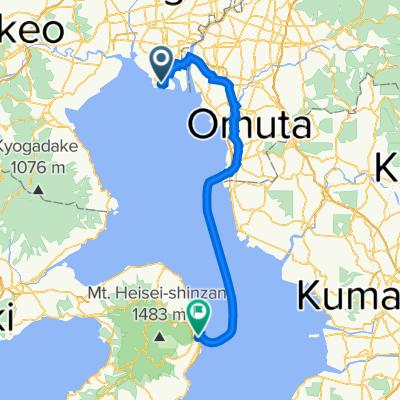 Day 1 從佐賀機場到海濱飯店 島原的路線