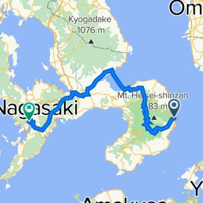Day 2 從海濱飯店 島原到稻佐山溫泉飯店Amandi的路線