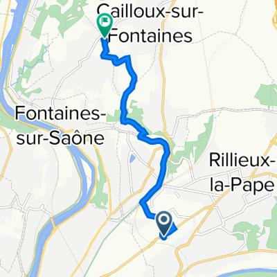 De 69 Rue du Companet, Rillieux-la-Pape à 175 Chemin du Puits Pointu, Cailloux-sur-Fontaines