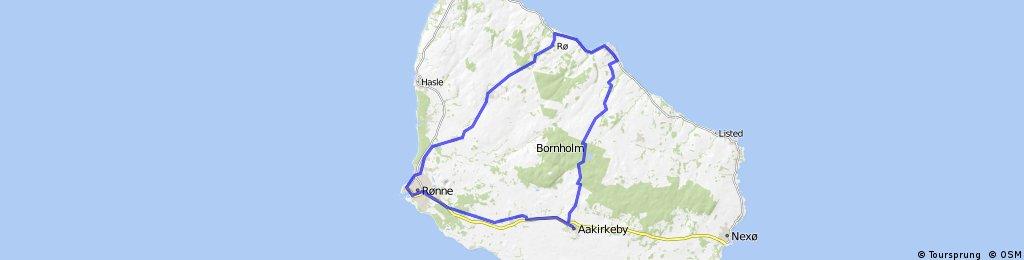 Gudhjem - Aakirkerby - Ronne - Klemensker - Ro - Gudhjem
