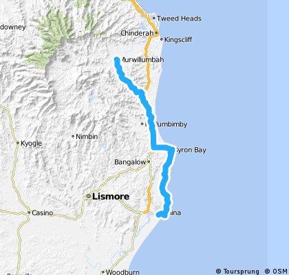 16 Ballina to Murwillumbah via Byron Bay