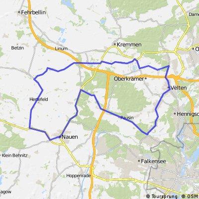 90 km Rundkurs mit Start und Ziel in Vehlefanz