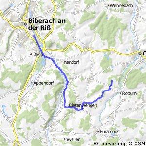 Donau-Bodensee-Radweg Querverbindung Teilstück Ochsenhausen–Biberach