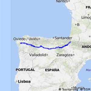 Ruta de los Peregrinos en bici - parte Española