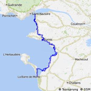 EV1 Saint-Brevin > La Barre de Monts - Fromentine - île de Noirmoutier