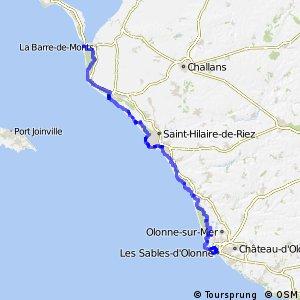 EV1 La Barre de Monts - Fromentine - île de Noirmoutier > Les Sables d'Olonne