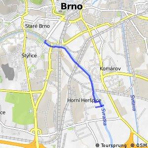 Praha-Brno – alternativa Brno, pravý břeh Svratky