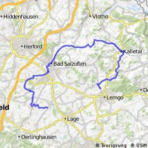 Fürstenroute Lippe (Ergänzungsroute blau), Abschnitt Pottenhausen-Lemgo.