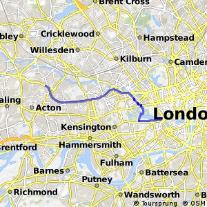 Proposed Lancaster Gate-Acton extension of East-West Cycle Superhighway